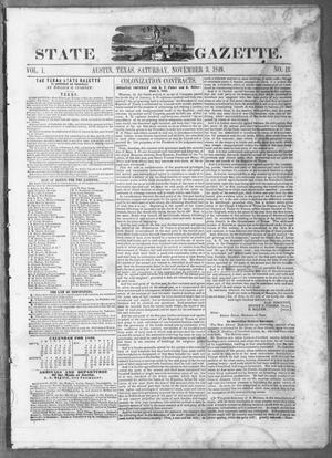 Primary view of object titled 'Texas State Gazette. (Austin, Tex.), Vol. 1, No. 11, Ed. 1, Saturday, November 3, 1849'.