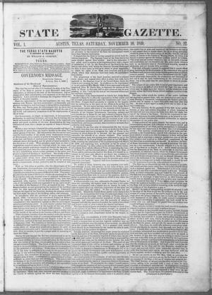 Primary view of object titled 'Texas State Gazette. (Austin, Tex.), Vol. 1, No. 12, Ed. 1, Saturday, November 10, 1849'.