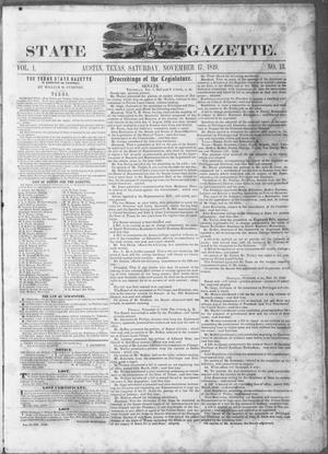 Primary view of object titled 'Texas State Gazette. (Austin, Tex.), Vol. 1, No. 13, Ed. 1, Saturday, November 17, 1849'.