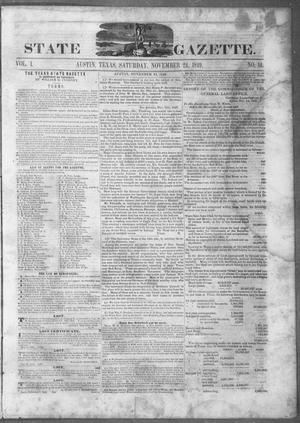 Primary view of object titled 'Texas State Gazette. (Austin, Tex.), Vol. 1, No. 14, Ed. 1, Saturday, November 24, 1849'.