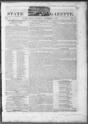 Primary view of object titled 'Texas State Gazette. (Austin, Tex.), Vol. 1, No. 15, Ed. 1, Saturday, December 1, 1849'.
