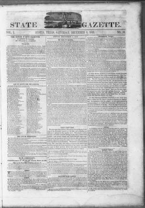 Primary view of object titled 'Texas State Gazette. (Austin, Tex.), Vol. 1, No. 16, Ed. 1, Saturday, December 8, 1849'.