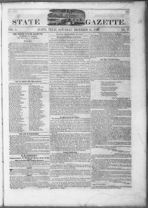 Primary view of object titled 'Texas State Gazette. (Austin, Tex.), Vol. 1, No. 17, Ed. 1, Saturday, December 15, 1849'.