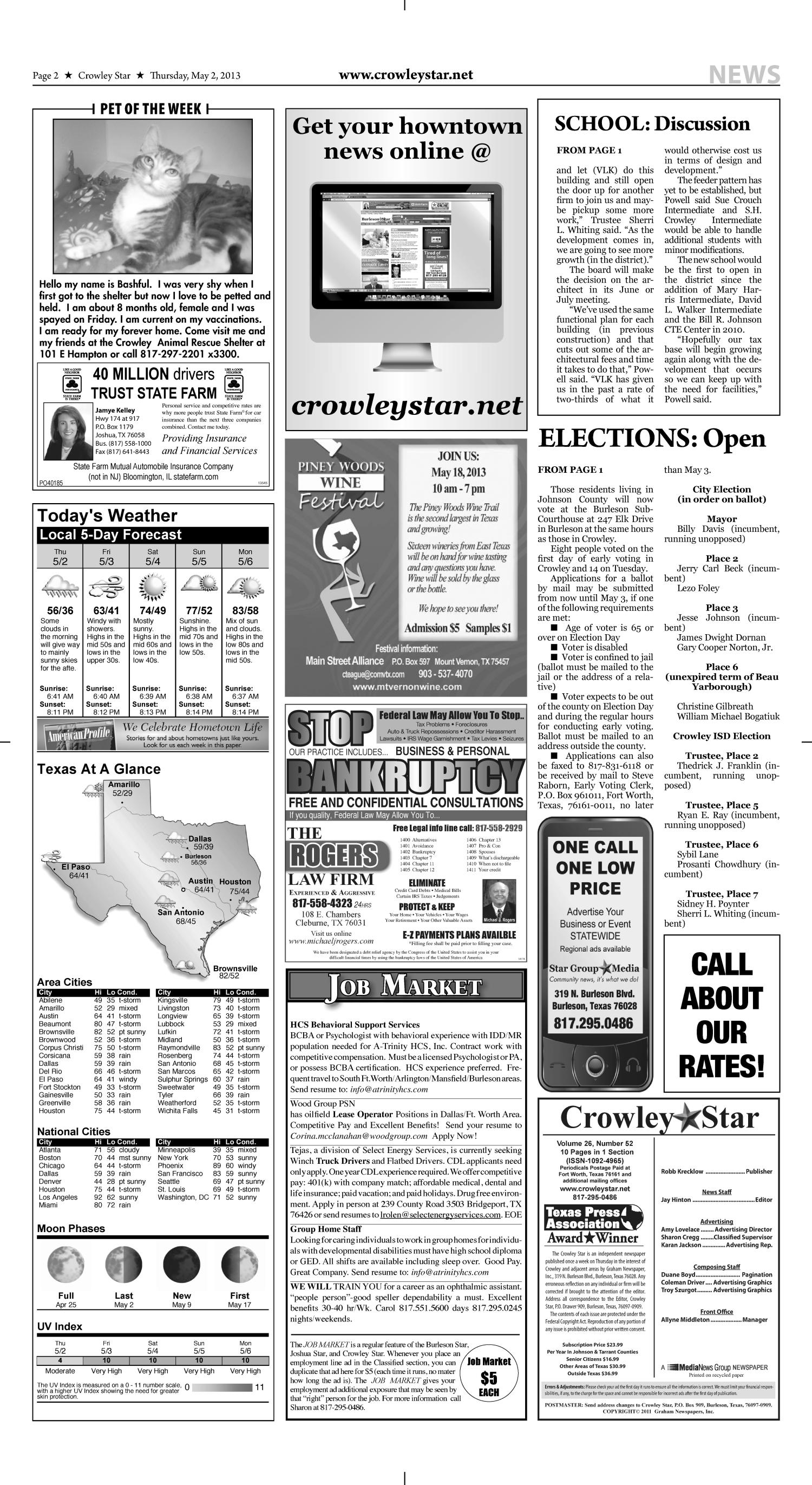 Crowley Star (Crowley, Tex.), Vol. 26, No. 51, Ed. 1 Thursday, May 2, 2013                                                                                                      [Sequence #]: 2 of 10