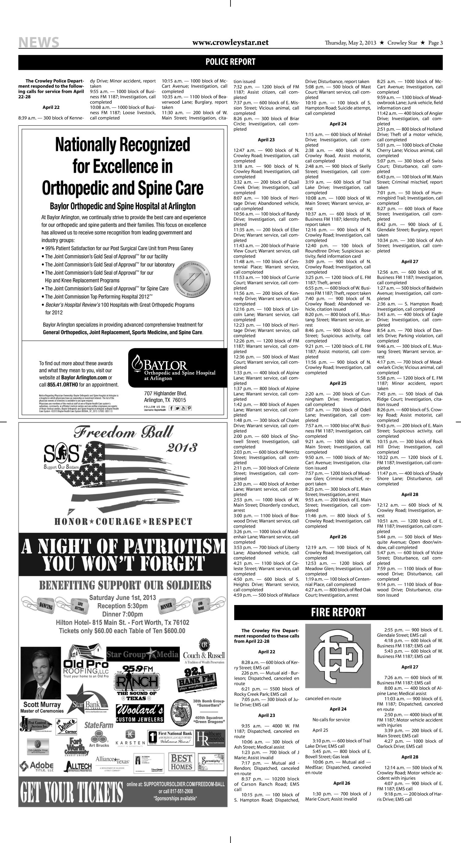 Crowley Star (Crowley, Tex.), Vol. 26, No. 51, Ed. 1 Thursday, May 2, 2013                                                                                                      [Sequence #]: 3 of 10