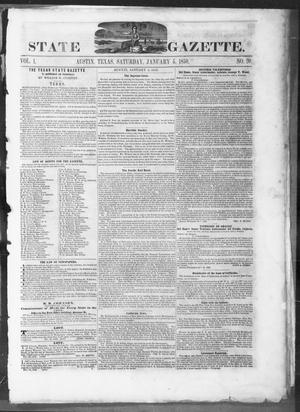 Primary view of object titled 'Texas State Gazette. (Austin, Tex.), Vol. 1, No. 20, Ed. 1, Saturday, January 5, 1850'.