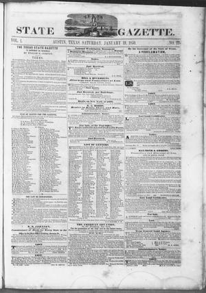 Primary view of object titled 'Texas State Gazette. (Austin, Tex.), Vol. 1, No. 22, Ed. 1, Saturday, January 19, 1850'.