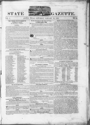 Primary view of object titled 'Texas State Gazette. (Austin, Tex.), Vol. 1, No. 23, Ed. 1, Saturday, January 26, 1850'.