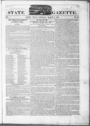 Primary view of object titled 'Texas State Gazette. (Austin, Tex.), Vol. 1, No. 29, Ed. 1, Saturday, March 9, 1850'.