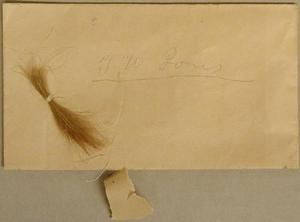 "Primary view of object titled '[Small lock of hair and an envelope labeled ""T.W. Jones""]'."