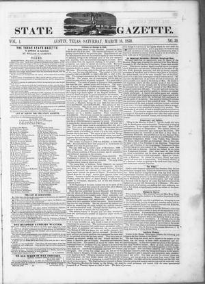 Primary view of object titled 'Texas State Gazette. (Austin, Tex.), Vol. 1, No. 30, Ed. 1, Saturday, March 16, 1850'.