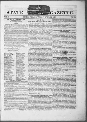 Primary view of object titled 'Texas State Gazette. (Austin, Tex.), Vol. 1, No. 34, Ed. 1, Saturday, April 13, 1850'.