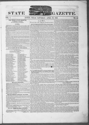 Primary view of object titled 'Texas State Gazette. (Austin, Tex.), Vol. 1, No. 35, Ed. 1, Saturday, April 20, 1850'.