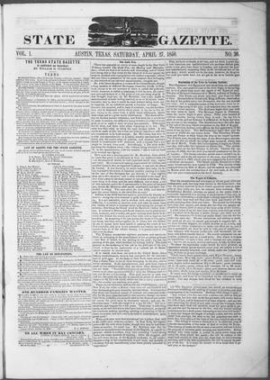 Primary view of object titled 'Texas State Gazette. (Austin, Tex.), Vol. 1, No. 36, Ed. 1, Saturday, April 27, 1850'.