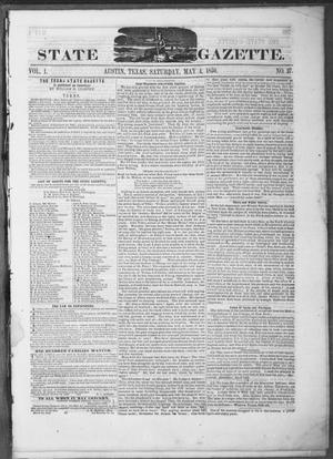 Primary view of object titled 'Texas State Gazette. (Austin, Tex.), Vol. 1, No. 37, Ed. 1, Saturday, May 4, 1850'.