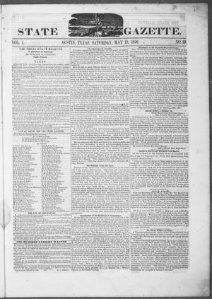 Primary view of object titled 'Texas State Gazette. (Austin, Tex.), Vol. 1, No. 39, Ed. 1, Saturday, May 18, 1850'.