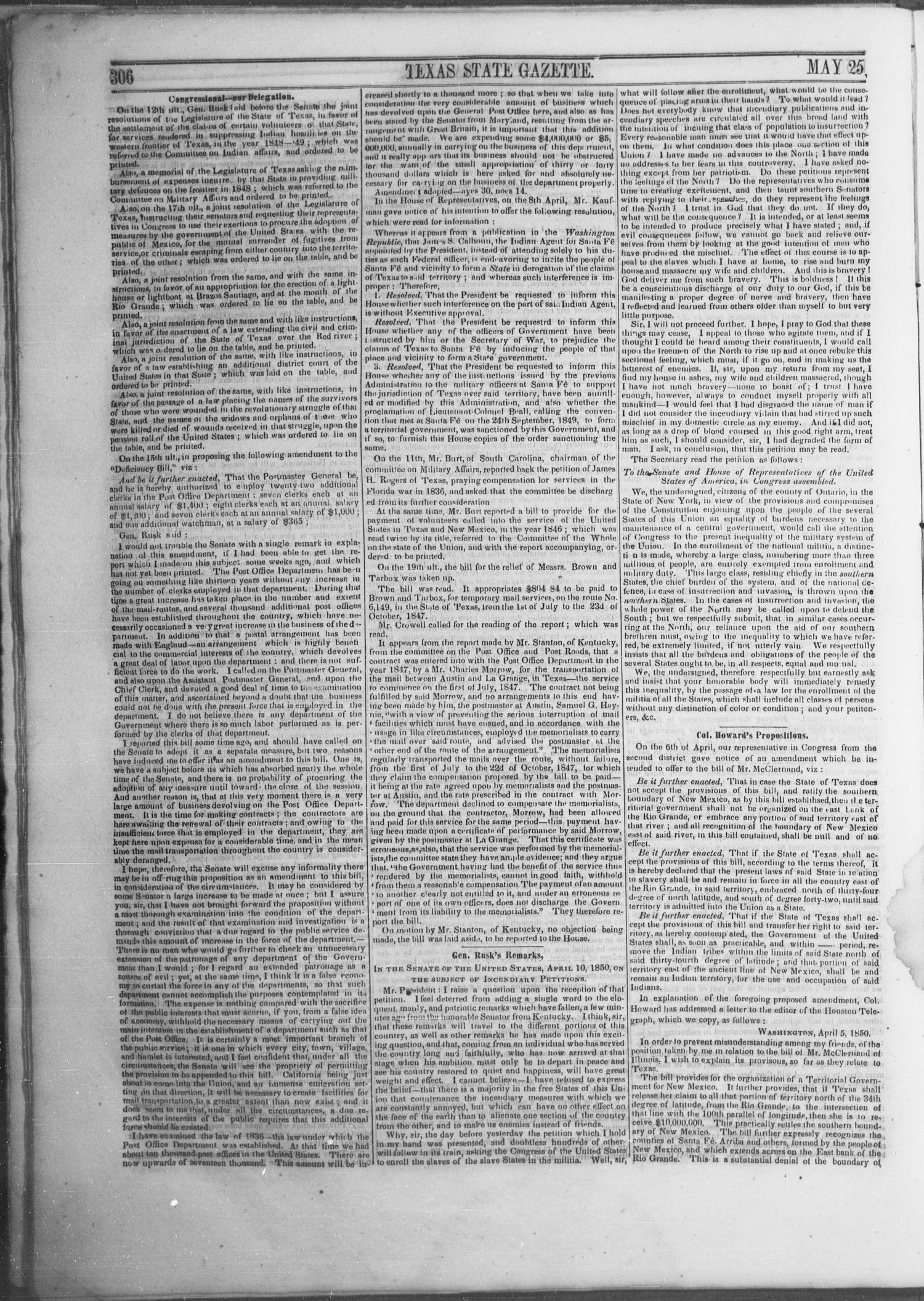 Texas State Gazette. (Austin, Tex.), Vol. 1, No. 40, Ed. 1, Saturday, May 25, 1850                                                                                                      [Sequence #]: 4 of 8