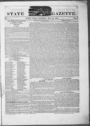 Texas State Gazette. (Austin, Tex.), Vol. 1, No. 40, Ed. 1, Saturday, May 25, 1850