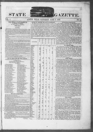 Primary view of object titled 'Texas State Gazette. (Austin, Tex.), Vol. 1, No. 42, Ed. 1, Saturday, June 8, 1850'.