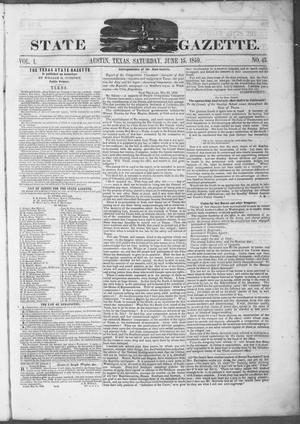 Primary view of object titled 'Texas State Gazette. (Austin, Tex.), Vol. 1, No. 43, Ed. 1, Saturday, June 15, 1850'.