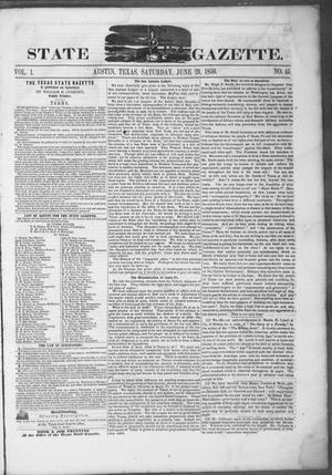 Primary view of object titled 'Texas State Gazette. (Austin, Tex.), Vol. 1, No. 45, Ed. 1, Saturday, June 29, 1850'.