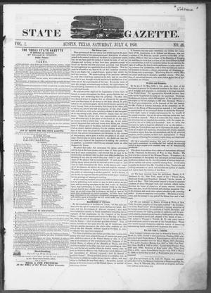 Primary view of object titled 'Texas State Gazette. (Austin, Tex.), Vol. 1, No. 46, Ed. 1, Saturday, July 6, 1850'.