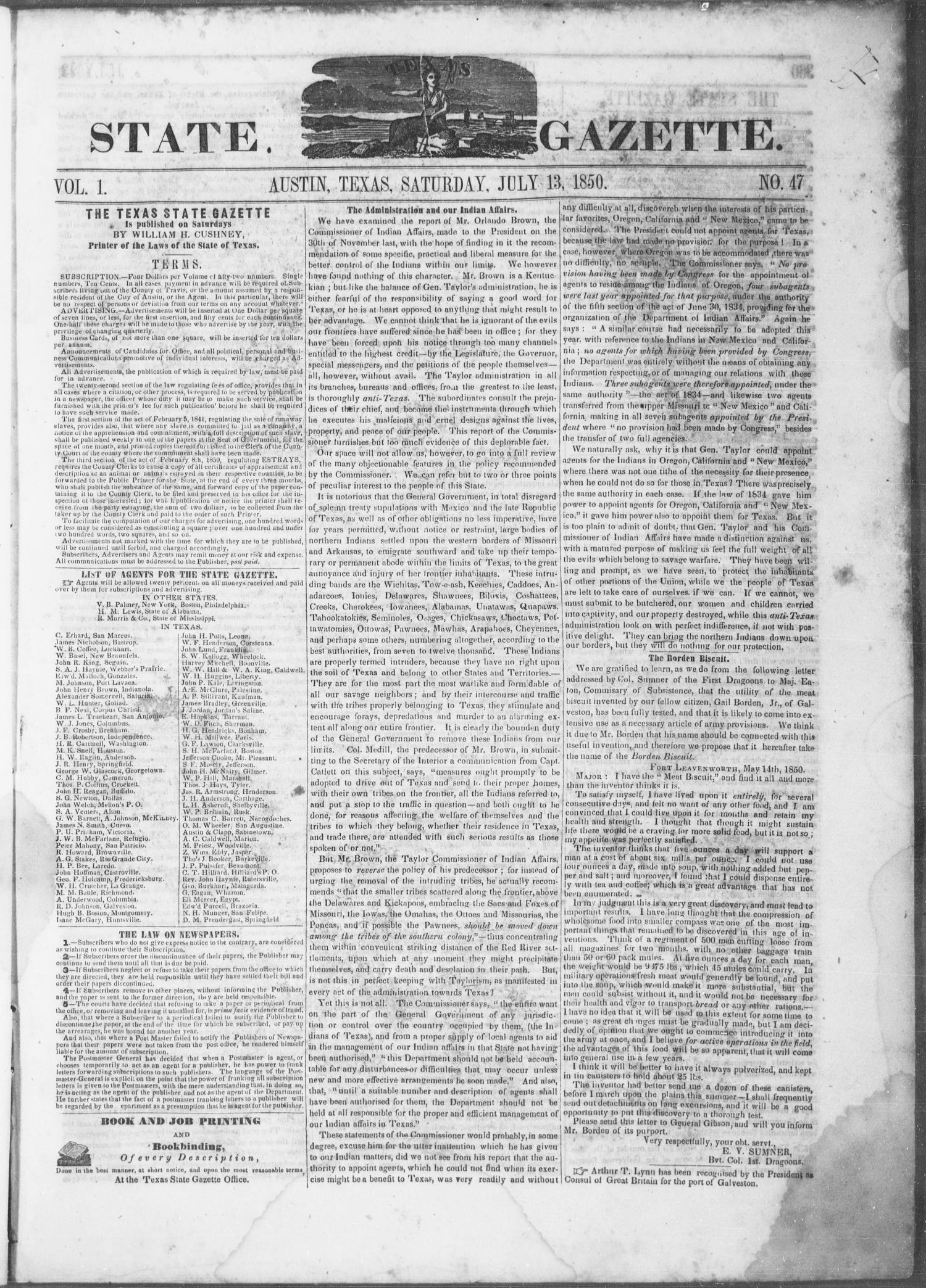 Texas State Gazette. (Austin, Tex.), Vol. 1, No. 47, Ed. 1, Saturday, July 13, 1850                                                                                                      [Sequence #]: 1 of 8