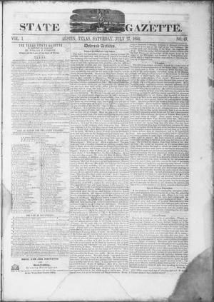 Primary view of object titled 'Texas State Gazette. (Austin, Tex.), Vol. 1, No. 49, Ed. 1, Saturday, July 27, 1850'.