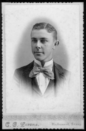 Primary view of object titled '[Albert Peyton George as a young man, wearing a plaid three piece suit]'.