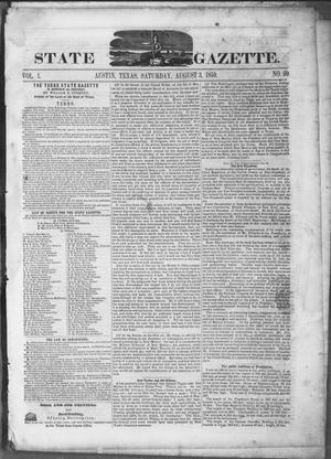 Primary view of object titled 'Texas State Gazette. (Austin, Tex.), Vol. 1, No. 50, Ed. 1, Saturday, August 3, 1850'.