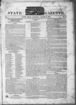 Primary view of object titled 'Texas State Gazette. (Austin, Tex.), Vol. 1, No. 51, Ed. 1, Saturday, August 10, 1850'.