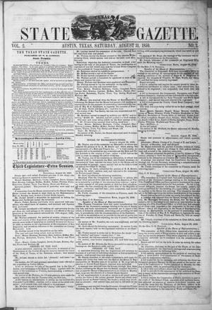 Primary view of object titled 'Texas State Gazette. (Austin, Tex.), Vol. 2, No. 2, Ed. 1, Saturday, August 31, 1850'.