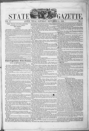 Primary view of object titled 'Texas State Gazette. (Austin, Tex.), Vol. 2, No. 4, Ed. 1, Saturday, September 14, 1850'.
