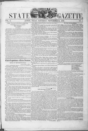 Primary view of object titled 'Texas State Gazette. (Austin, Tex.), Vol. 2, No. 5, Ed. 1, Saturday, September 21, 1850'.