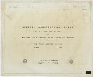 Primary view of object titled 'First Baptist Church Educational Building Additions: Title Page'.