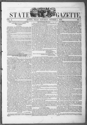 Primary view of object titled 'Texas State Gazette. (Austin, Tex.), Vol. 2, No. 7, Ed. 1, Saturday, October 5, 1850'.