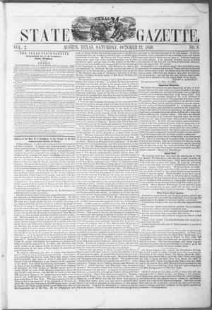 Primary view of object titled 'Texas State Gazette. (Austin, Tex.), Vol. 2, No. 8, Ed. 1, Saturday, October 12, 1850'.