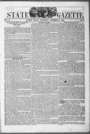 Primary view of object titled 'Texas State Gazette. (Austin, Tex.), Vol. 2, No. 9, Ed. 1, Saturday, October 19, 1850'.