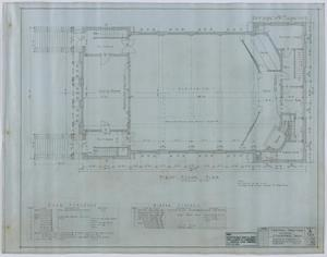 Primary view of object titled 'Central Christian Church, Stamford, Texas: First Floor Plan'.