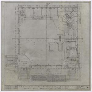 Primary view of object titled 'Baptist Church, Ranger, Texas: First Floor Plan'.