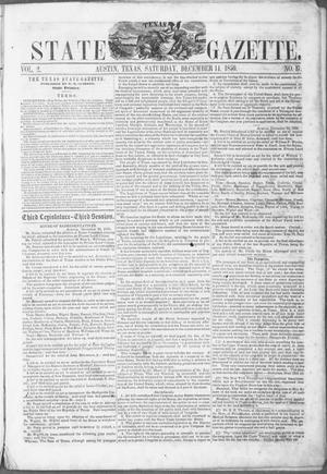 Primary view of object titled 'Texas State Gazette. (Austin, Tex.), Vol. 2, No. 17, Ed. 1, Saturday, December 14, 1850'.