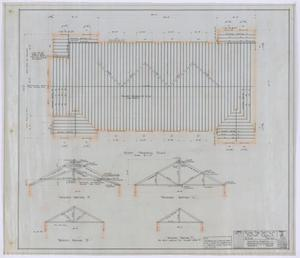 Primary view of object titled 'First Baptist Church, Rule, Texas: Roof Framing Plan'.