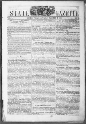 Primary view of object titled 'Texas State Gazette. (Austin, Tex.), Vol. 2, No. 20, Ed. 1, Saturday, January 4, 1851'.