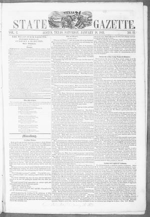 Primary view of object titled 'Texas State Gazette. (Austin, Tex.), Vol. 2, No. 22, Ed. 1, Saturday, January 18, 1851'.