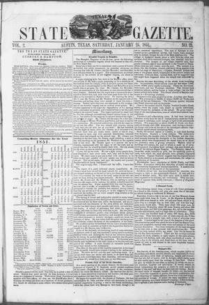 Primary view of object titled 'Texas State Gazette. (Austin, Tex.), Vol. 2, No. 23, Ed. 1, Saturday, January 25, 1851'.