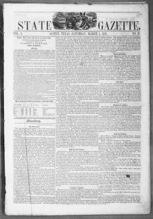 Primary view of object titled 'Texas State Gazette. (Austin, Tex.), Vol. 2, No. 28, Ed. 1, Saturday, March 1, 1851'.