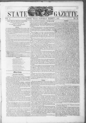 Primary view of object titled 'Texas State Gazette. (Austin, Tex.), Vol. 2, No. 29, Ed. 1, Saturday, March 8, 1851'.