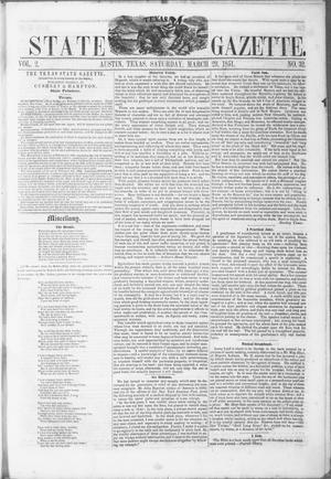 Primary view of object titled 'Texas State Gazette. (Austin, Tex.), Vol. 2, No. 32, Ed. 1, Saturday, March 29, 1851'.