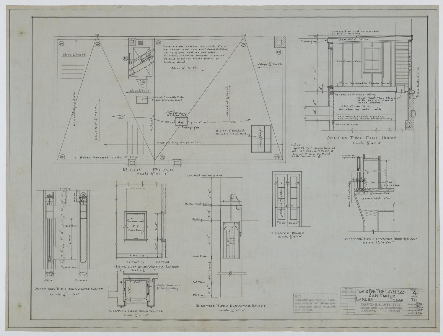 Sanitarium Building, Lamesa, Texas: Roof Plan                                                                                                      [Sequence #]: 1 of 2