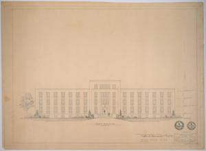 Primary view of object titled 'Midland Memorial Hospital, Midland, Texas: Preliminary Plans, Front Elevation'.